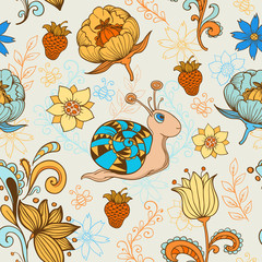 Seamless pattern with snail