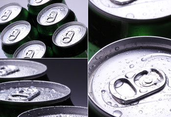 Collage. Cans with water drops