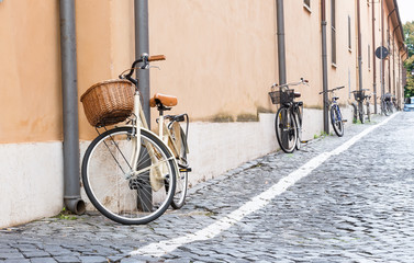 Bicycles parked on the street in Rome, Italy