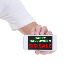 Man hand hold mobile phone with Black friday isolated on white b