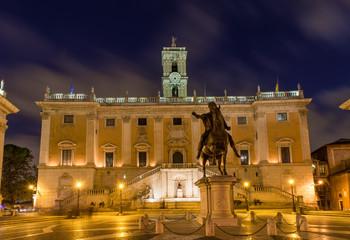 Capitoline Hill, Palazzo Senatorio, statue Marcus Aurelius. Rome