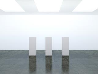 3D empty white room