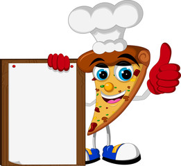 pizza cartoon thumb up holding blank board