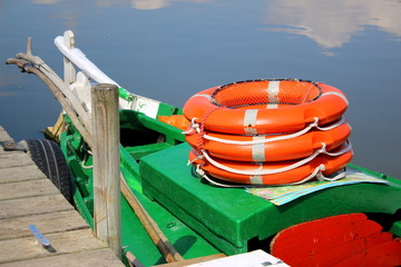 Life preservers in a boat