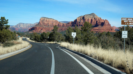 Scenic of Highway 163 through Monument Valley, Arizona
