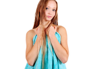Girl with blue towel