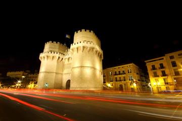 Torres de Serranos by night in Valencia, Spain
