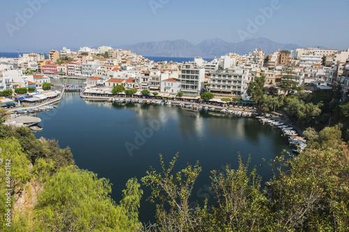 canvas print picture Bootshafen von Aghios Nikolaos auf Kreta