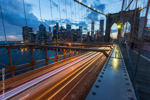 Brooklyn Bridge in New York at Dusk