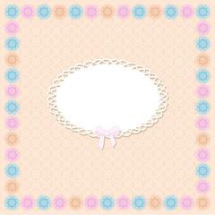 Retro postcard, lace, veсtor illustration