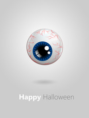 funny cartoon blue eye with halloween wishes