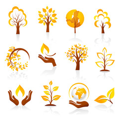 Autumn icons. Vector
