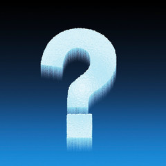 frozen question mark on blue background