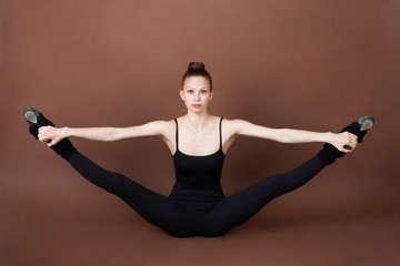 Girl doing physical exercise sport