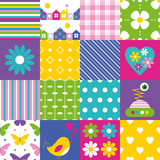 Fototapety happy patchwork pattern collection