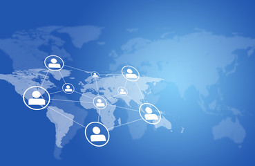 World map with network and people icons