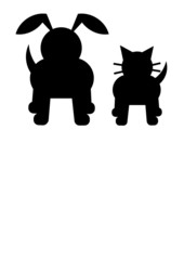 Cat and Dog vector in silhouette
