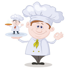 Cartoon cook and little chef with pizza