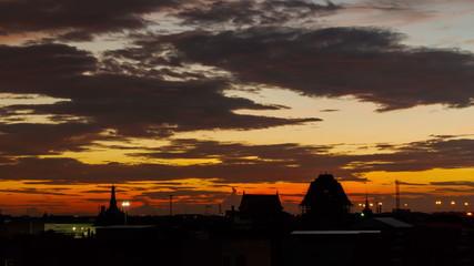 Beautiful sunset over downtown bangkok city. Time lapse, 4k