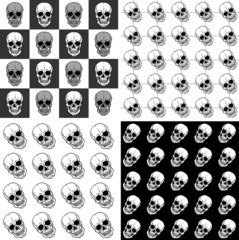 Set of seamless patterns with skulls