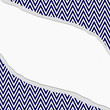 Navy Blue and White Chevron  Zigzag Frame with Torn Background