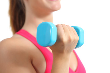 Close up of a fitness woman lifting weights exercising aerobic