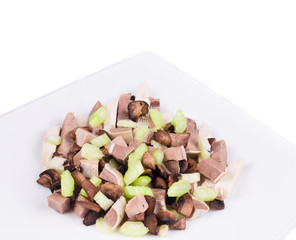 Meat salad with mushrooms.