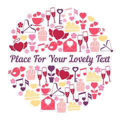 Romantic card design with space for text