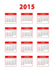 2015 red croatian calendar