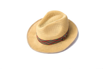 A woven fashion hat isolate on white background