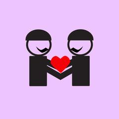 Gay wedding couple icons