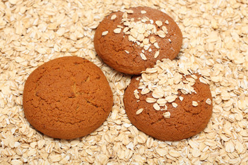 Oatcakes on rolled oats background