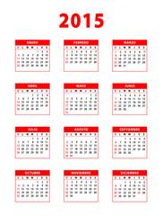 2015 red spanish calendar