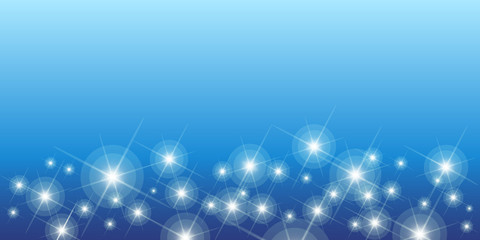 Shining stars on blue seamless horizontal pattern