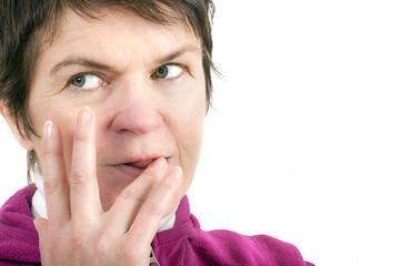 Woman licks his fingers