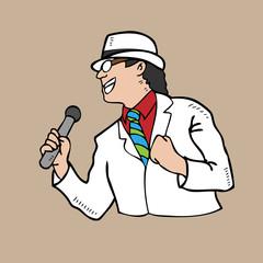 Man in white suit singing