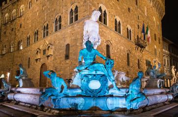 Fountain Neptune in Piazza della Signoria in Florence at Night