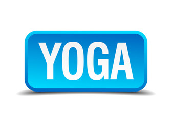 Yoga blue 3d realistic square isolated button