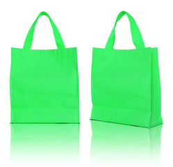 green shopping bag on white background
