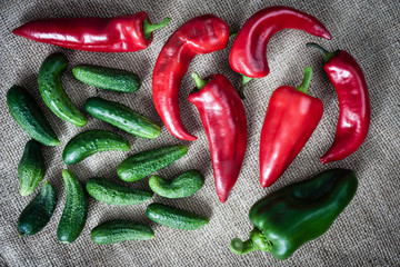 cucumbers and peppers
