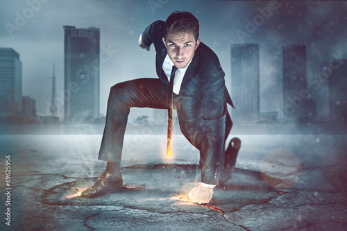 Leinwanddruck Bild Businessman Superhero