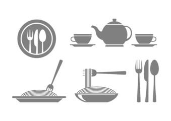 Grey food icons on white background