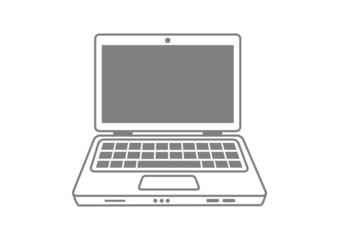 Grey laptop icon on white background