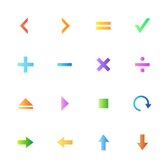 Colorful style calculator and computer icons vector set.