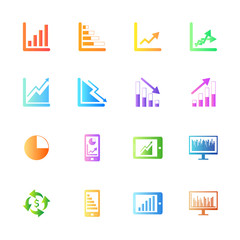 Colofulr style Business Graph icon vector set.