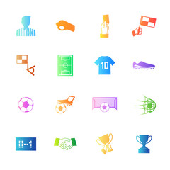 Colorful style Soccer football icons vector set.