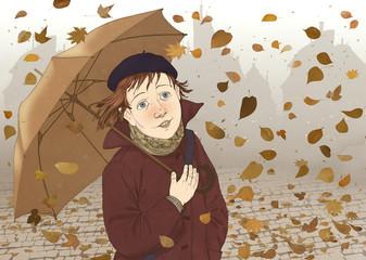 Девочка под зонтом, смотрящая на листопад