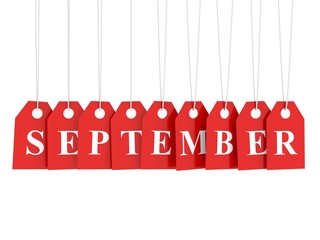 September tag on red hanging labels. September promotions.