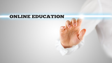 The words - Online Education - on a virtual interface