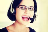 Attractive customer support representative poster